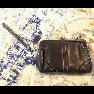 COACH Leather Kisslock Wristlet-Clutch